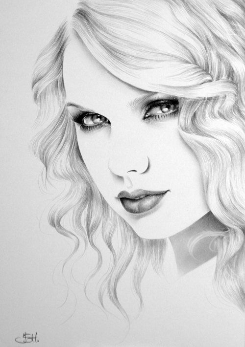 Taylor Swift Minimalism Original Pencil Drawing Fine Art Portrait SALE. $139.99, via Etsy.