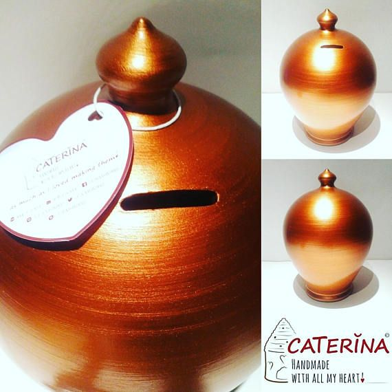 Copper piggy bank, Unopenable, no hole, Money Tin, Saving box,  Large piggy bank for adults, ceramic money bank by #caterinahandmade #piggybank #coinbanks #pottery #handpainted #handmade #wheelthrown #italy #italian #potterygift #anniversarygift #anniversary