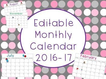 FREE Editable Monthly Calendar 2016-17