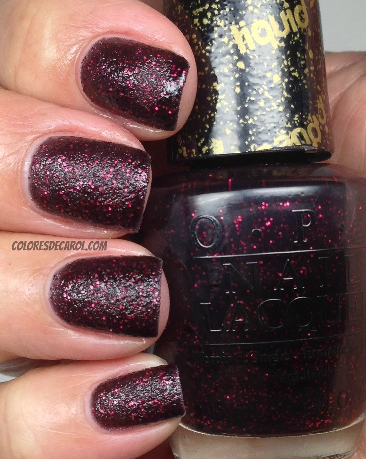 Opi: STAY THE NIGHT, this is a black base with dark red glitter. Sand matte.