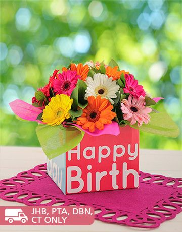 NetFlorist is South Africas largest sameday flower & gift delivery service. Buy Happy Birthday Box of Mini Gerberas online today.