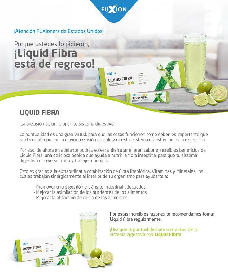 Liquid Fibra incluye Fibra Prebiótica, con Vitaminas y Minerales que:  Promueven una digestión y tránsito adecuado Mejoran la asimilación de los nutrientes de los alimentos Mejoran la absorción de calcio de los alimentos