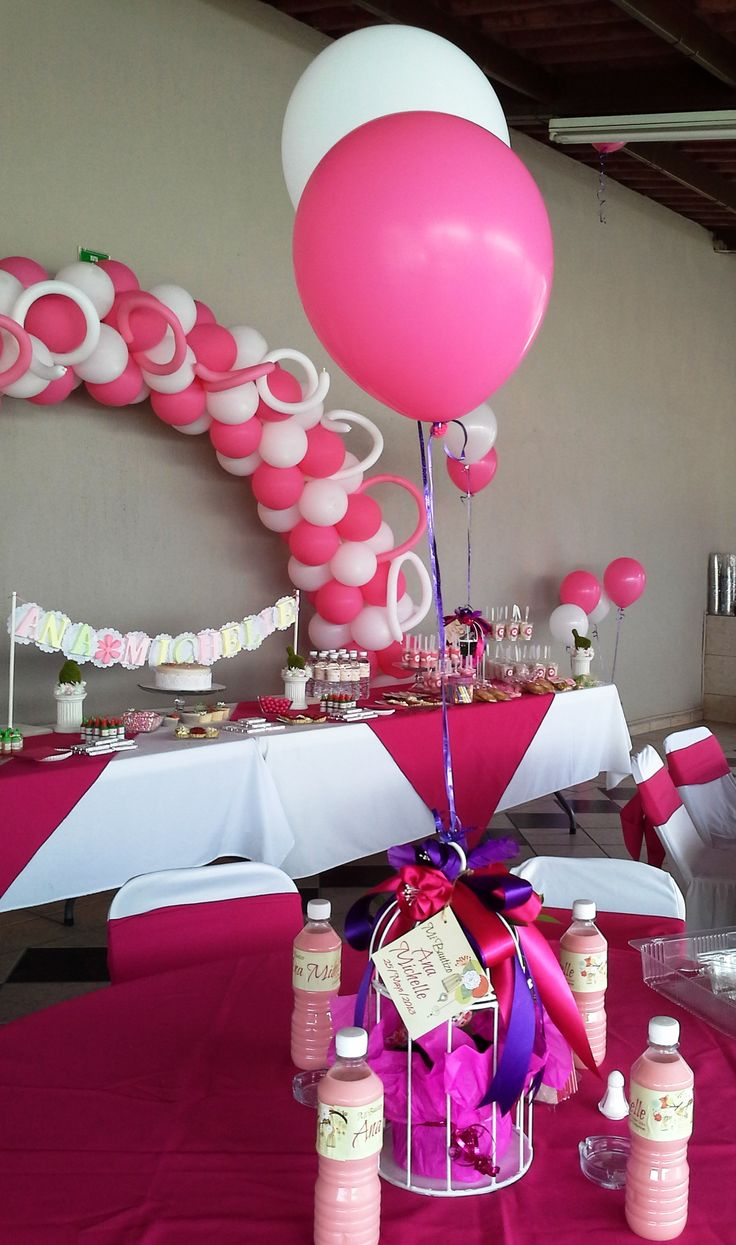 Decoraci n para bautizo de ni a pink and white party - Decoracion de bautizo ...