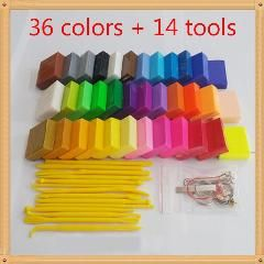 [ 63% OFF ] 36 Colors Fimo Polymer Clay Modeling Play Doh Baked Playdough With 14 Tools Colored Clay For Children Educational Kids Toys Gift