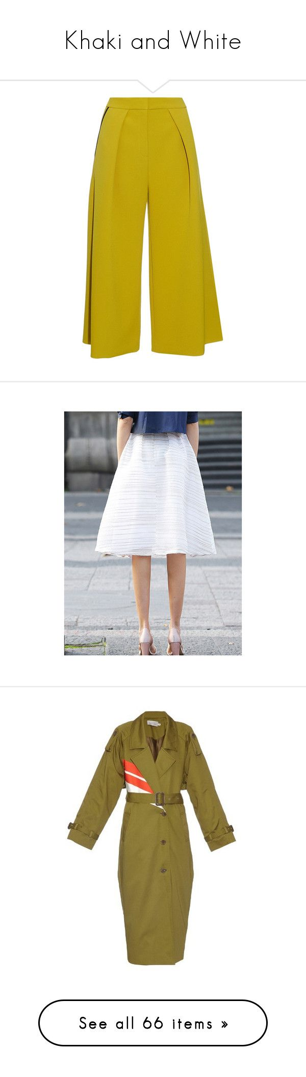 """""""Khaki and White"""" by english-thea ❤ liked on Polyvore featuring pants, bottoms, trousers, shorts, light khaki, olive green pants, wide-leg pants, summer pants, olive khaki pants and wide-leg trousers"""