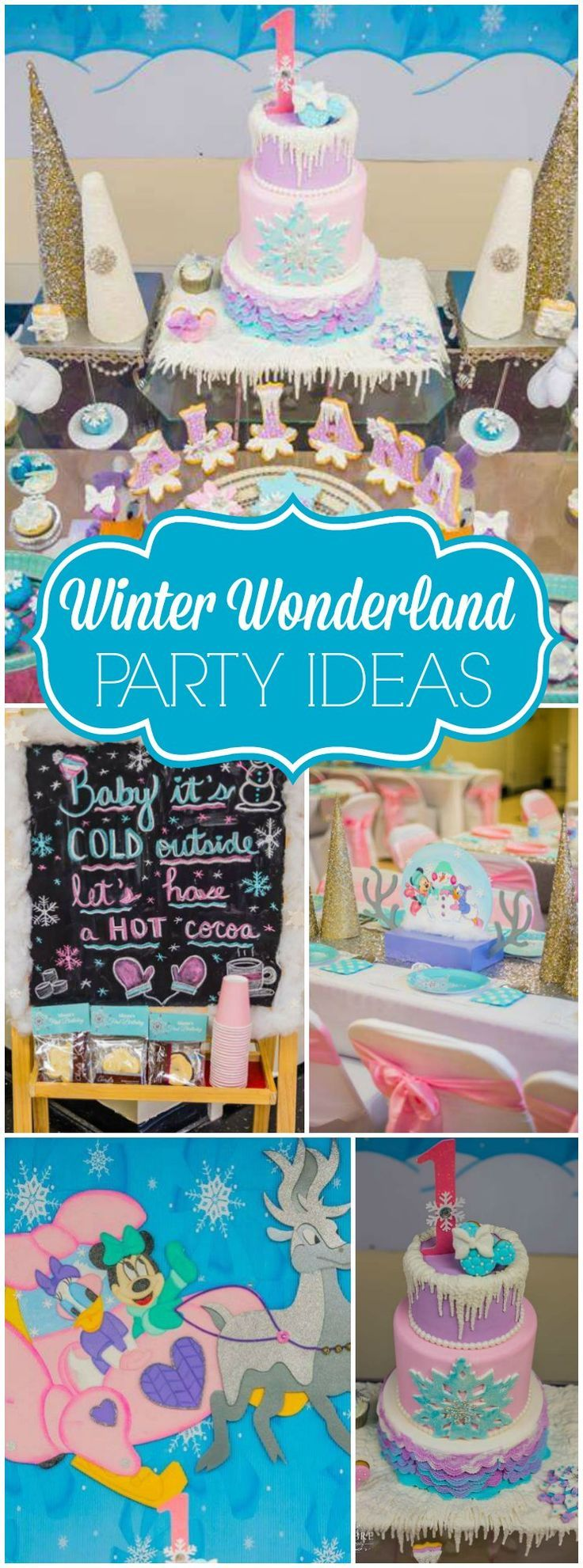 Minnie Mouse and Daisy Duck star at this winter wonderland party! See more party ideas at CatchMyParty.com!