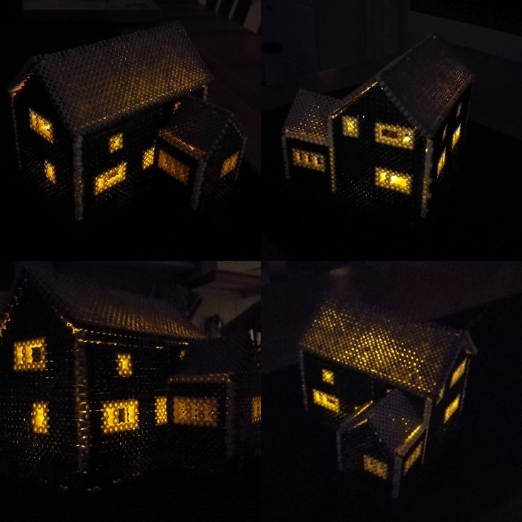 My childhood home with two led tealights inside.
