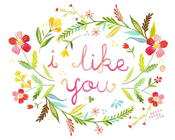 I Like You horizontal   print por thewheatfield en Etsy, $18.00
