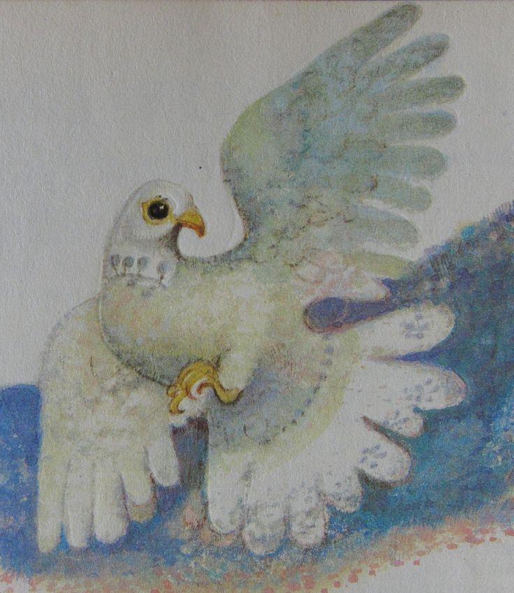 Karel Franta. Czech illustrator. Vintage illustration. Animal fairy stories. Dove.