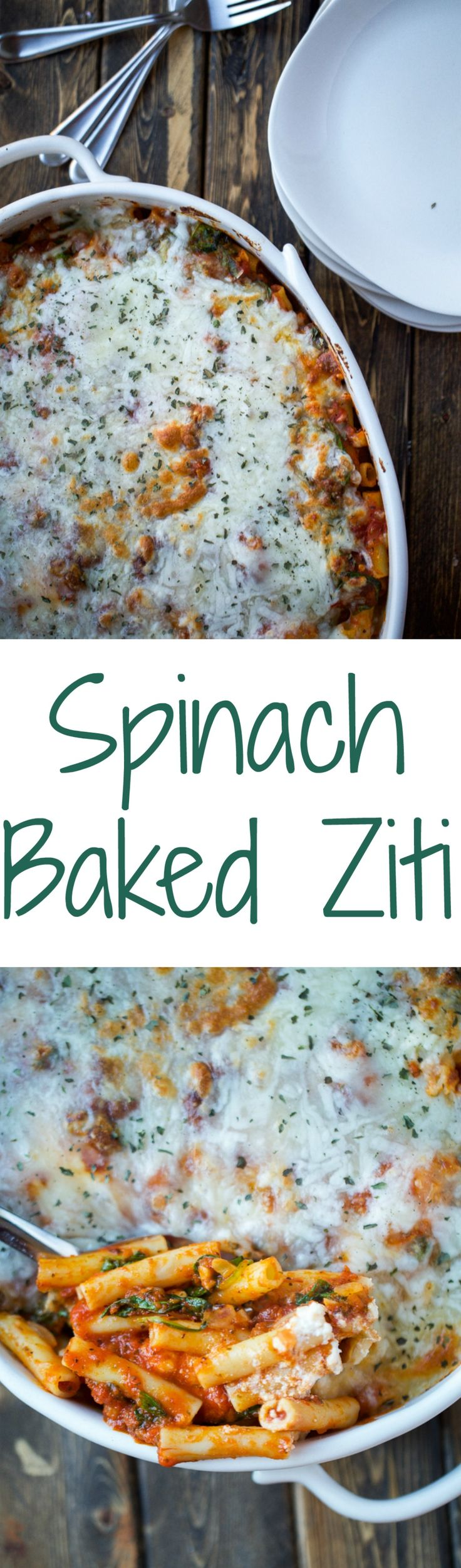 A classic comfort food that is baked with spinach, ziti noodles, pasta sauce, and so many cheeses. It's easy to make and perfect for a crowd.