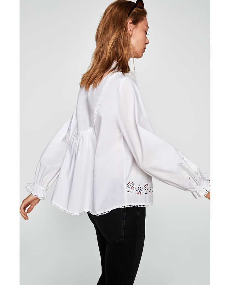 EMBROIDERED POPLIN BLOUSE-TOPS-WOMAN | ZARA United Kingdom