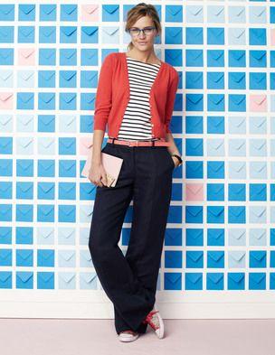 Wide leg trousers, Breton top, Converse. Super comfy for work
