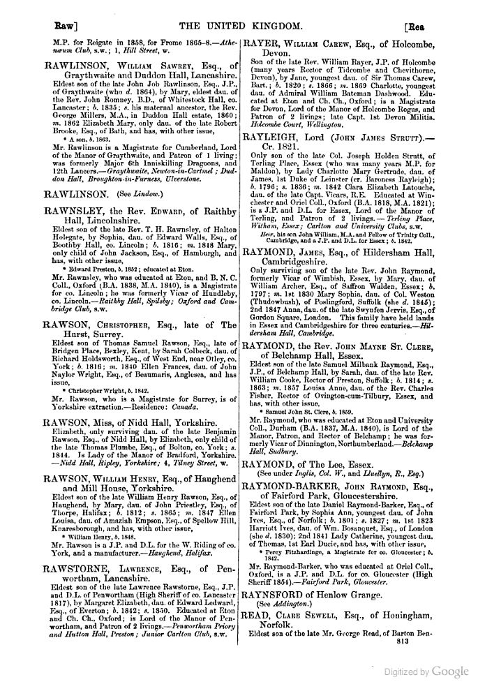 The County Families of the United Kingdom Or, Royal Manual of the Titled and ... - Edward Walford - Google Books