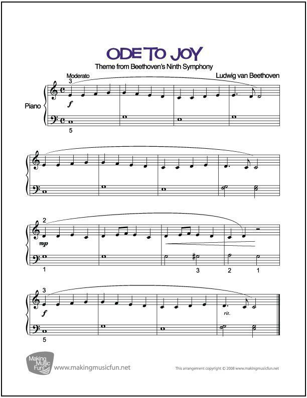 Ode To Joy Beethoven Print And Download Beginner Easy Piano