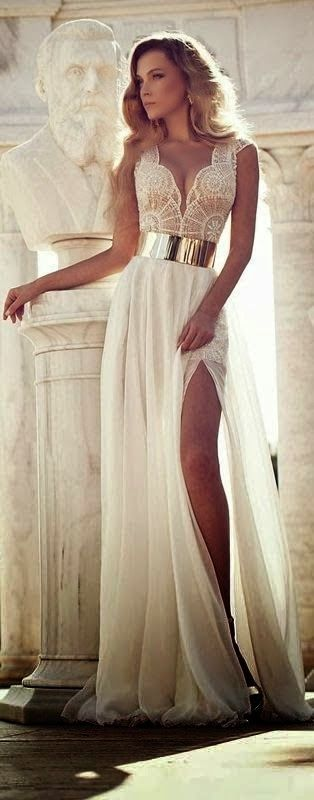 Amazing Charming White Dress with Golden Belt