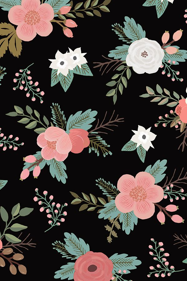 Floral Bouquets in Black by willowlanetextiles - Pink, rose, and white flower illustration on a black background.  Available in fabric, wallpaper, and gift wrap.