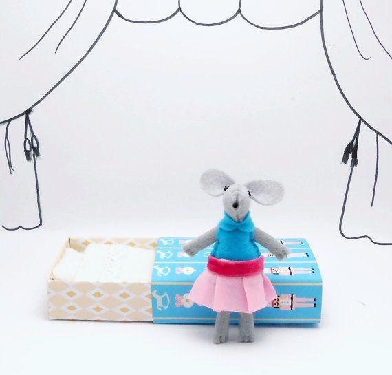 https://www.etsy.com/listing/110029733/pink-blue-felt-mouse-in-a-matchbox #Pink blue felt #mouse in a #matchbox #Nutcracker by #atelierpompadour #feltmouse #feltplush #peluche #pupazzotopo #pupazzo #ballet #balletto #rosa #ballerina #schiaccianoci #bambina #children #nurserydecor #christmas