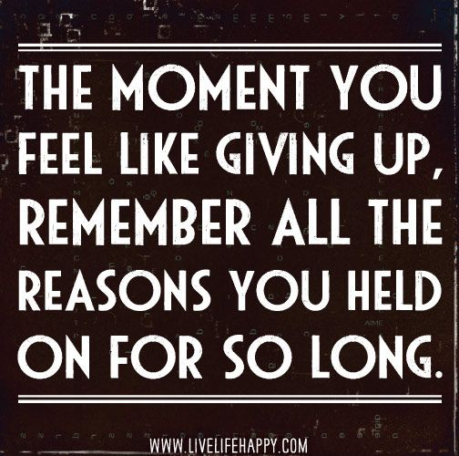 The moment you feel like giving up, remember all the reasons you held on for so long.