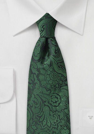 Dark Pine Green Paisley Wedding Necktie