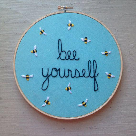 Bee Yourself hoop art
