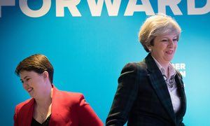 Theresa May and Scottish Conservative leader Ruth Davidson (left) at the launch of the Scottish Conservatives' manifesto in Edinburgh.