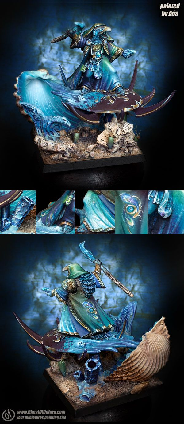 Warhammer 40k Chaos Lord of Tzeentch on disk. One of the most Tzeenchy sorcerers I've ever seen!