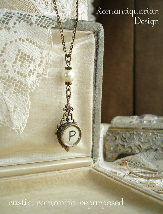 Typewriter Key Jewelry - Cream Letter P Necklace. Vintage Typewriter Key Necklace. Antiqued Brass & Ivory Pearl. Rustic Monogram Necklace.