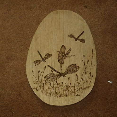 wood plaque dragonflys and faeries!