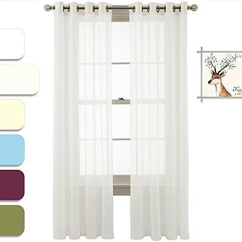Nicetown Light Filtering Sheer Window Curtain Panels With Grommet Top 54  Wide X 63 Inch Long White)