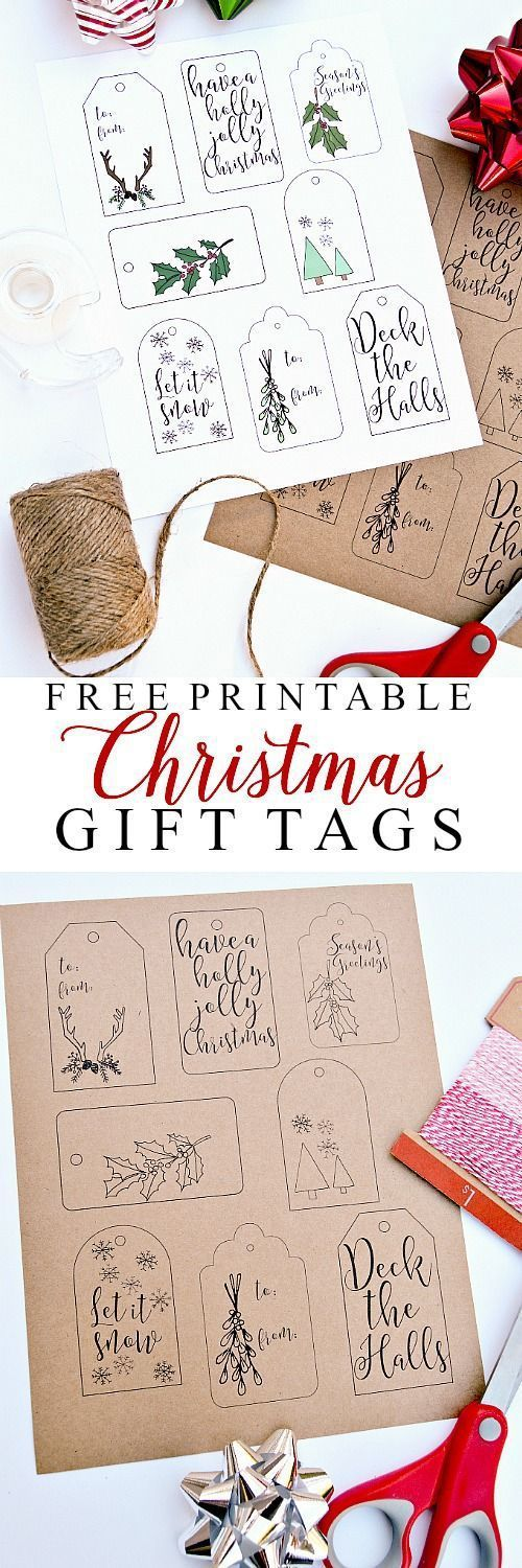 Free Printable Christmas Gift Tags   Ella Claire Inspired