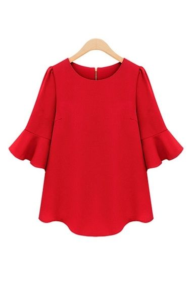 Red Three Quarter Sleeves Loose Chiffon T-shirt from a great website for cute tops!