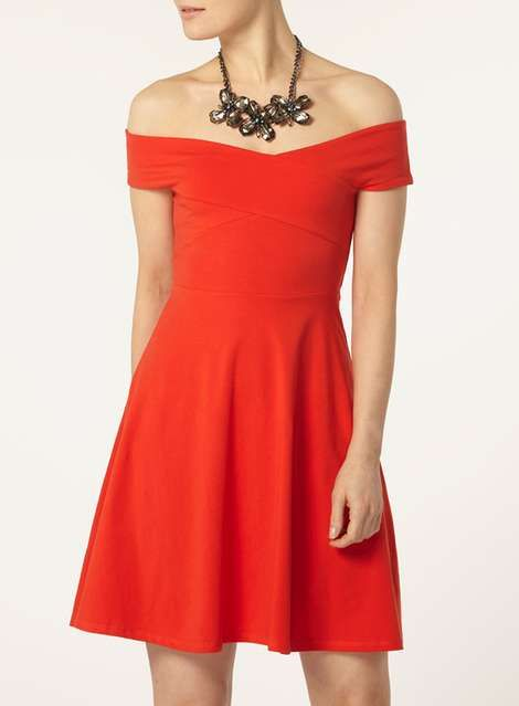 Red bardot dress - View All Dresses - Dresses - Dorothy Perkins United States
