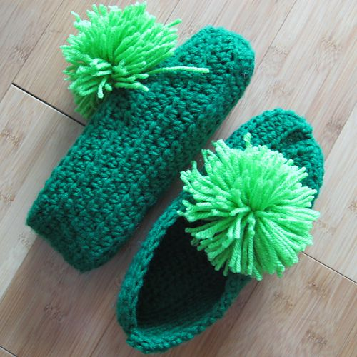 These are the easiest slippers I have ever found. My Nana used to make them for us every Christmas. I looked for the written pattern so I could share it with my crochet group, but couldn't find the exact style. So I typed it up myself, and took pictures along the way to help.