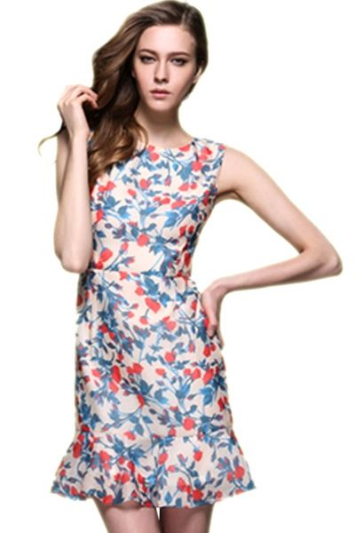 Floral Sleeveless Fishtail Apricot Dress