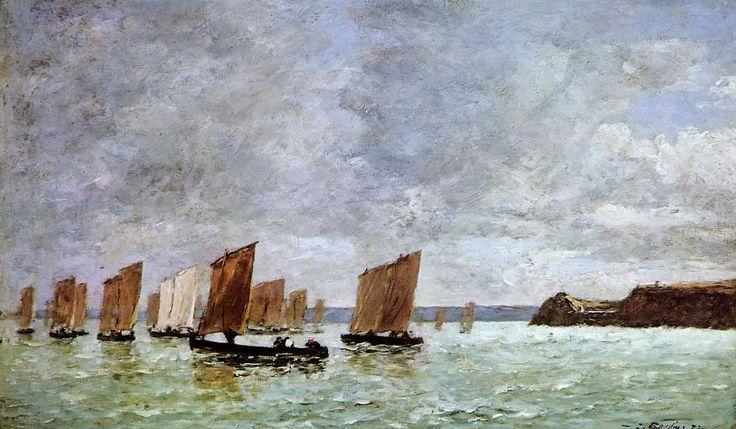 Camaret, Fishing Boats off the Shore  Eugene Boudin