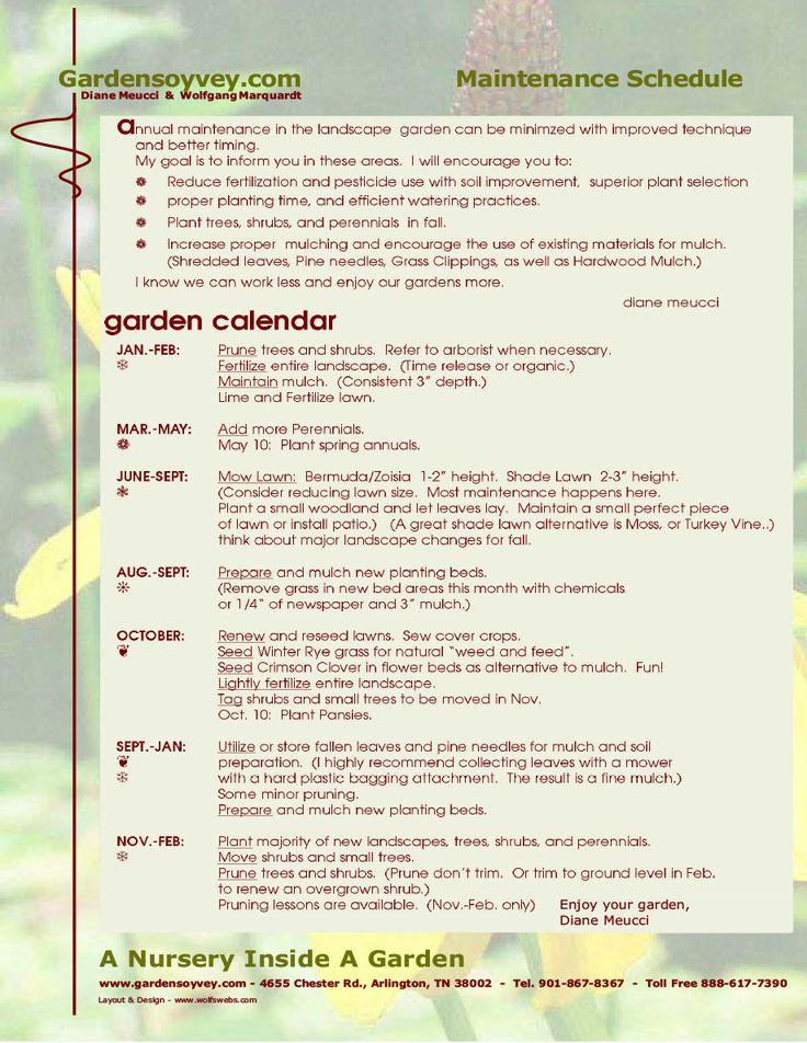 Maintenance Schedule - Gardensoyvey.com