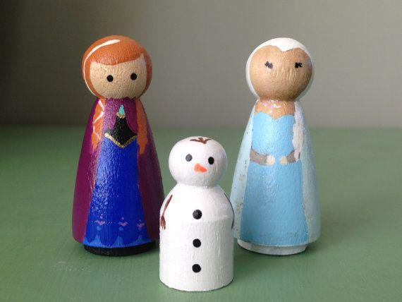 Mini Frozen Peg dolls. Anna, Elsa, and Olaf. Toys, Wooden peg dolls