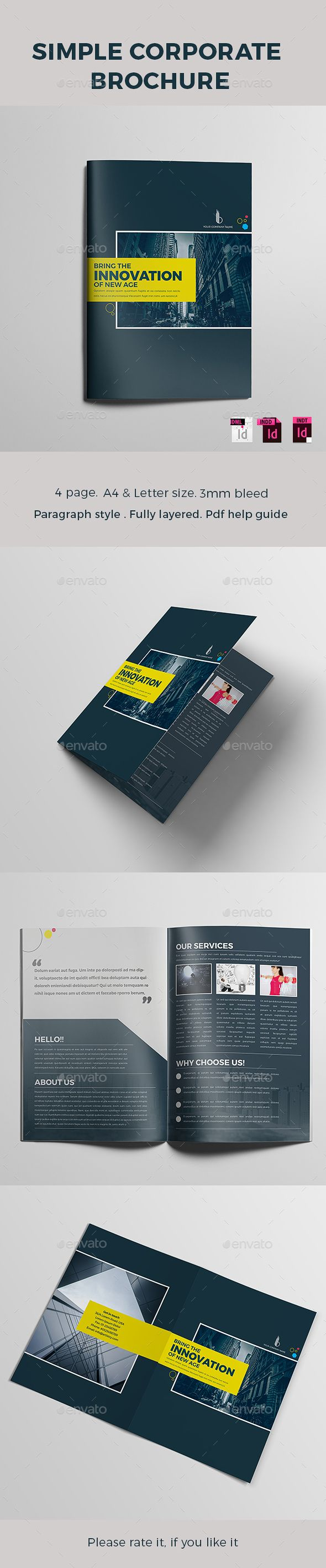 Simple Corporate Brochure Template InDesign INDD. Download here…