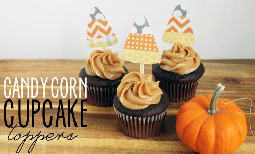 Unusually Lovely: Create Something - Blog - Candy Corn Paper Cupcake TopperDIY