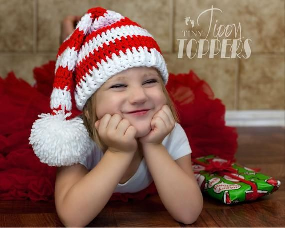 6edf4cc127c Crocheted CHRISTMAS STRIPED elf hat with pom - Red White Striped ...