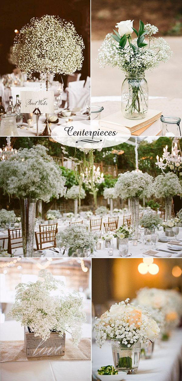black white purple wedding reception%0A    Baby u    s Breath Wedding Ideas for Rustic Weddings   Orchid  Centerpieces  and Vaulting