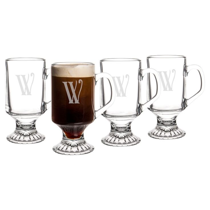 Cathy's Concepts Personalized Irish Glass 10oz Coffee Mugs Set of 4 - W, Clear