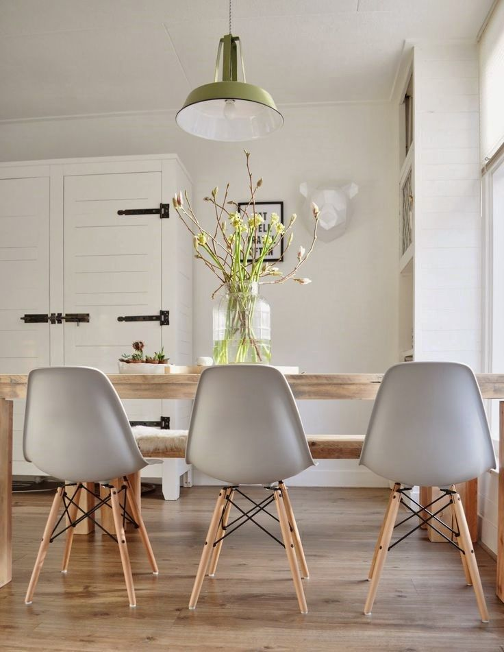 Eames Molded Plastic Chairs With Dowel Wood Leg Base