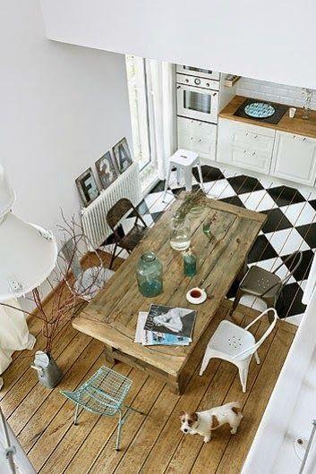 Parquet peint - Séparation salle à manger cuisine