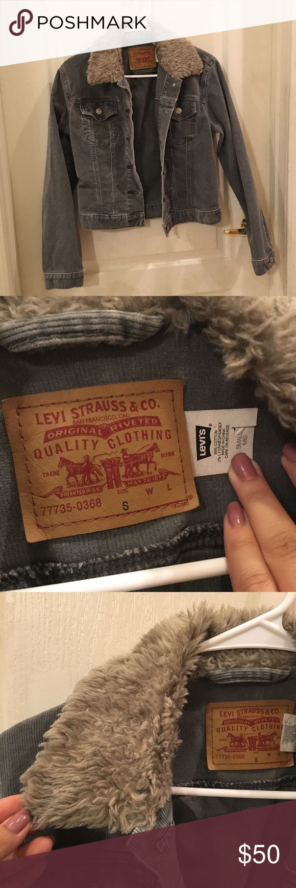 Levi Corduroy Jacket with faux fur Cropped jacket in gray Corduroy and super cute for the cold weather! In great used condition!! Ask questions below!! Levi's Jackets & Coats