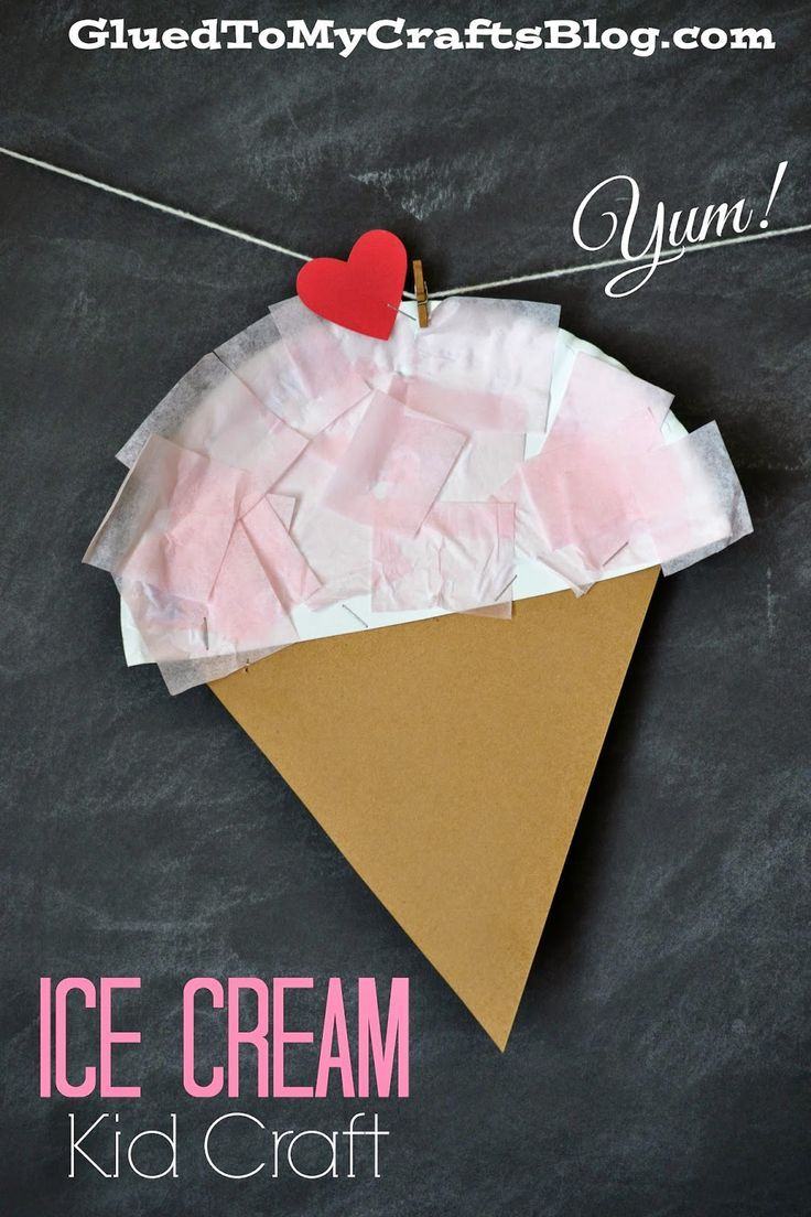 Ice cream... used as a template, used paper plate for cone and construction paper for ice cream. Used glue stick and duct tape to give it some sturdiness.