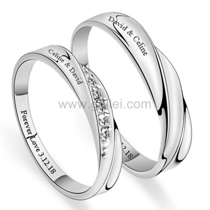 Custom Men And Women Promise Rings Set Sterling Silver Blue