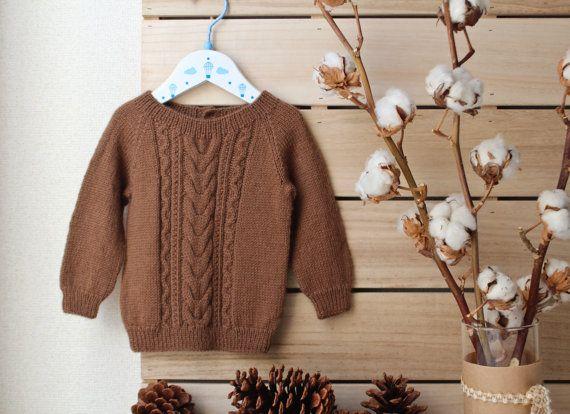 Suéter de Alpaca bebé suéter marrón punto
