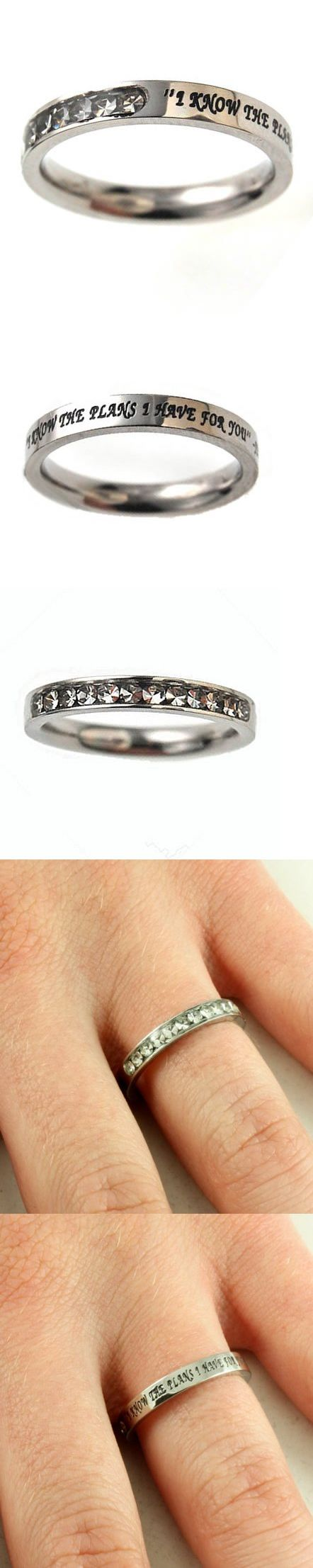 Christian Women's Stainless Steel Absitnence Princess Cut I Know the Plans I Have For You Jeremiah 29:11 Comfort Fit 3mm Cubic Zirconium Chastity Ring for Girls - Girls Purity Ring - Stackable - This petite stainless steel band for girls has 12 clear cubic zirconium stones covering 1/3 of the face while remaining 2/3 reveal engraved and black filled scripture I Know The Plans I Have For You ... - Stacking - Jewelry -