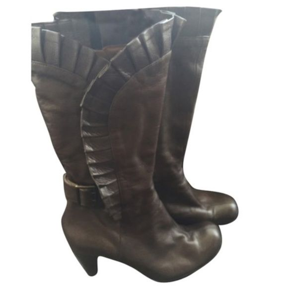 """Chie Mihara ruffle mid calf boots Beautiful brown boots with ruffle details on side by Spanish designer.  Buckle detail, approximately 3"""" heel.  Wore 3 times.  No box.  No trades. Chie Mihara Shoes"""